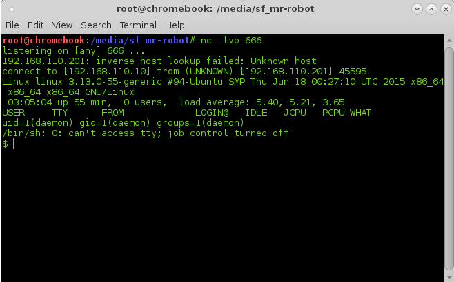 PHP Reverse-shell on Mr. Robot Vulnerable Machine